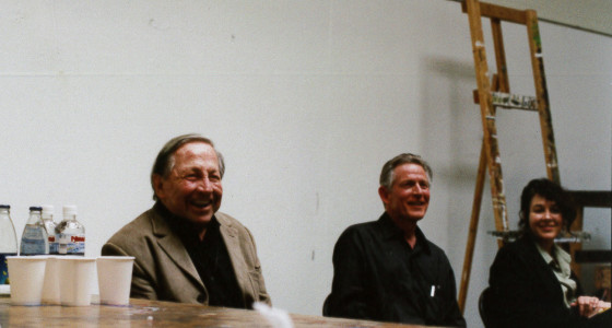 Robert Rauschenberg, Bill Berkson and Karen Moss at SFAI